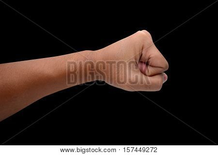 Male clenched fist isolated on black with clipping path