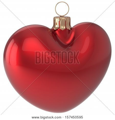 Christmas ball heart shaped New Years Eve bauble red adornment decoration blank. Happy Merry Xmas traditional wintertime holidays ornament love greeting card festive design element. 3d illustration