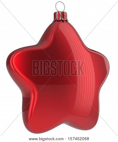 Red Christmas ball star shaped hanging decoration adornment New Year's Eve bauble. Happy Merry Xmas greeting card design element traditional wintertime holidays decor ornament blank. 3d illustration