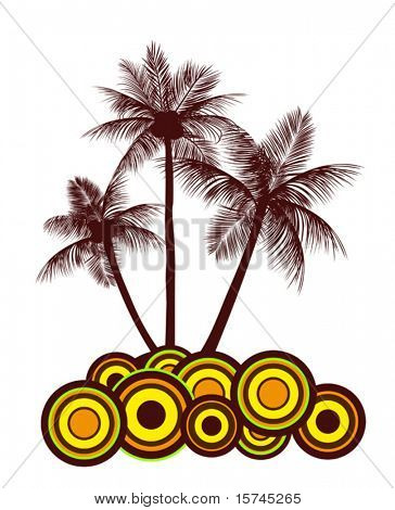Tropical abstract background with palms and circles. Jpeg version also available