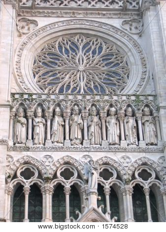 Details Of The Apostle On The Portal Of A Famous French Cathedral, Amiens, France