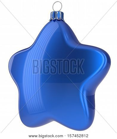 Blue Christmas ball star shaped hanging decoration adornment New Year's Eve bauble. Happy Merry Xmas greeting card design element traditional wintertime holidays decor ornament blank. 3d illustration