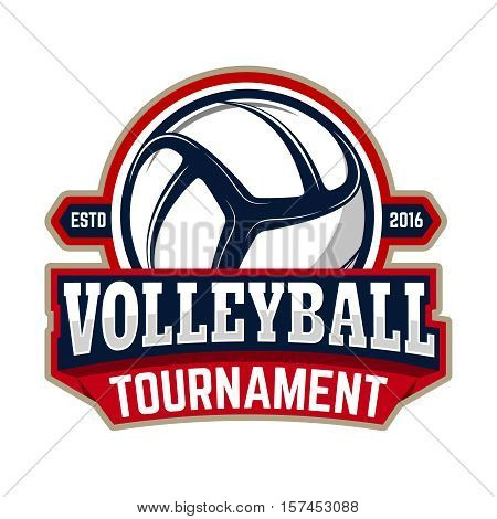 volleyball tournament. Emblem template with volleyball ball. Design element for logo, label, sign. Vector illustration.