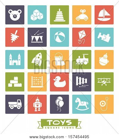 Toys for babies, kids, children and toddlers vector icon set. Collection of square color children's toys icons.