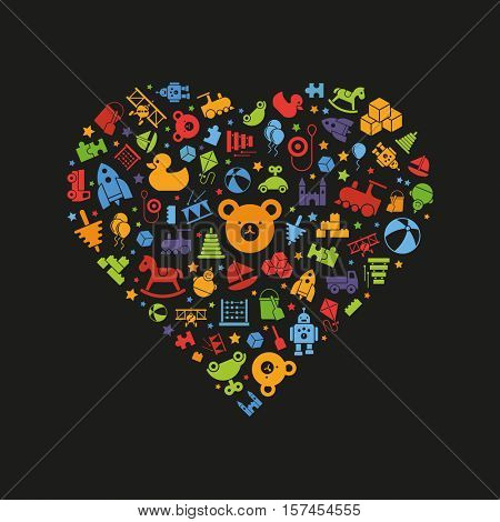 Love of toys. Toys for babies, kids, children and toddlers vector icons arranged in heart shape, color symbols on black background