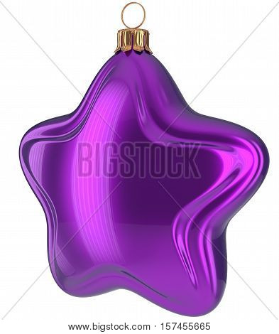 Christmas star shaped Merry Xmas ball purple hanging decoration adornment New Years Eve bauble. Happy wintertime holidays greeting card design element traditional decor ornament blank. 3d illustration
