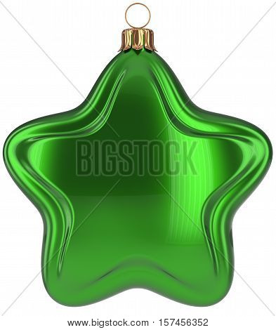 Christmas ball star shaped green decoration Merry Xmas hanging adornment New Year's Eve bauble. Happy wintertime holidays greeting card design element traditional decor ornament blank. 3d illustration