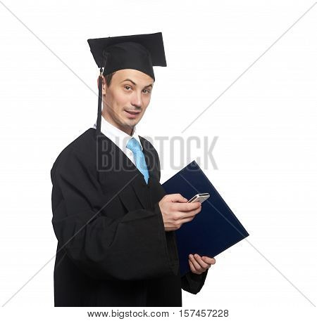Graduating Student With Smartphone