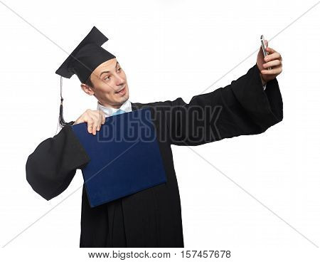 Graduate Student Take Selfie With Diploma