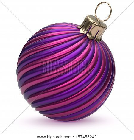 Christmas ball New Year's Eve decoration blue purple shiny twisted stripes bauble wintertime hanging adornment souvenir. Traditional ornament happy Merry Xmas winter holidays symbol. 3d illustration