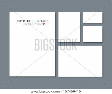 Blank vector stationery for corporate ID set isolated on dark gray. Differnt sizes of blank paper mock up, a4 paper, business card, booklet and flyer. Template for graphic designer portfolio demonstration