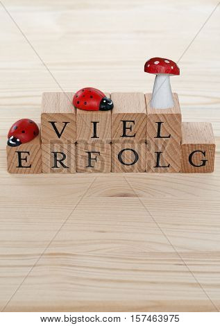 The german words for a lot of success (Viel Erfolg) and ladybugs and lucky beggar on wood
