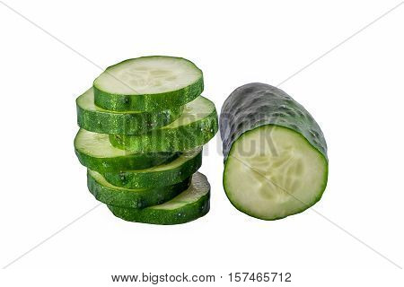 Half of cucumber and slices of cucumber on white background isolated