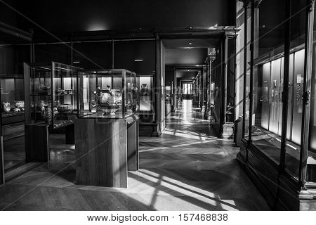 PARIS FRANCE - 02 SEPTEMBER 2015: Louvre indoor. Paris France.The museum is one of the world's largest museums and a historic monument. A central landmark of Paris.