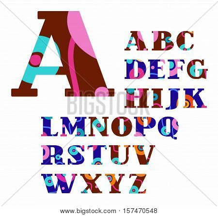 English alphabet, abstract, circles, colorful, vector font. Brown and blue capital letters of the English alphabet with orange, pink and green circles. Letters with serifs. An abstract pattern.