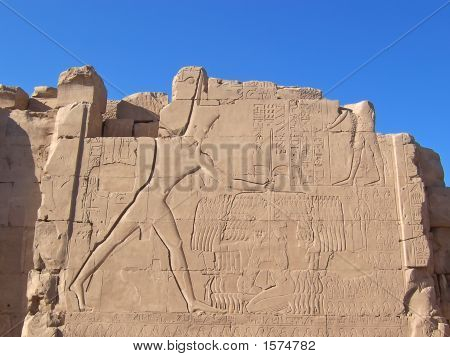 Hieroglyph On A Wall Of An Old Egyptian Temple, Karnak, Louxor, Egypt