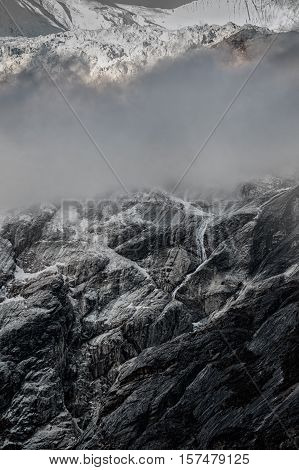 Icefall on glacier in Nepal mountains, Manaslu