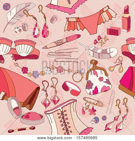 Woman fashion accessories cosmetics jewelry shopping background vector