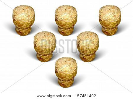 champagne cork pyramid formation white background macro