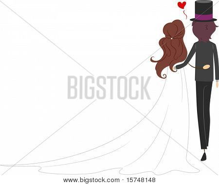 Illustration of a Newlywed Couple with Their Backs Turned