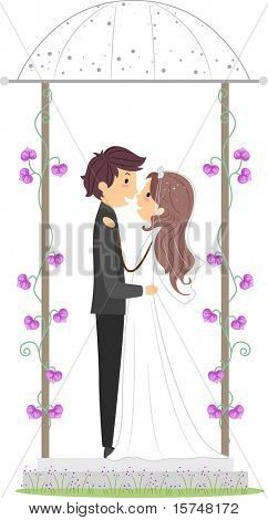 Illustration of a Newlywed Couple in a Gazebo