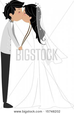 Illustration of a Newlywed Couple Sharing a Kiss