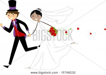 Illustration of Interracial Newlyweds on the Run