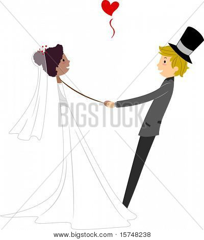 Illustration of a an Interracial Couple Dancing Together