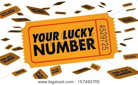 Your Lucky Number Winning Contest Raffle Ticket 3d Illustration