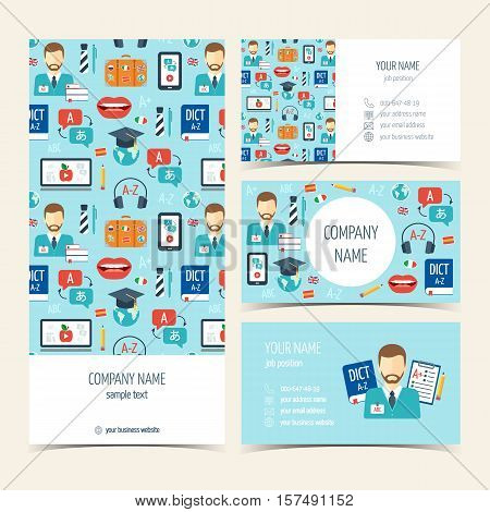 Flyer brochure and business cards for foreign language courses and schools. Set of promotional products. Flat design. Vector illustration