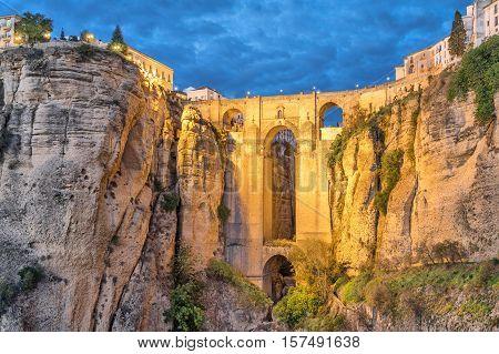 Puente Nuevo bridge in the evening Ronda Andalusia Spain