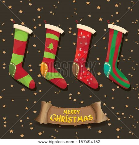 vector cartoon cute christmas stocking or socks with color ornament. Merry Christmas vector greeting card or background with christmas lights and calligraphic text on old vintage paper ribbon.