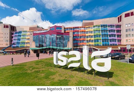 ZWOLLE NETHERLANDS - APRIL 4 2016: Colorful entrance of the Isala hospital. It is the largest non academic hospital in the netherlands with over 1100 beds