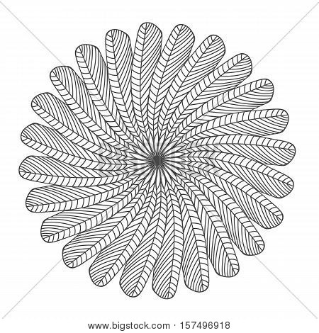 Dream catcher tribal sign made of feathers. Isolated stock vector illustration.