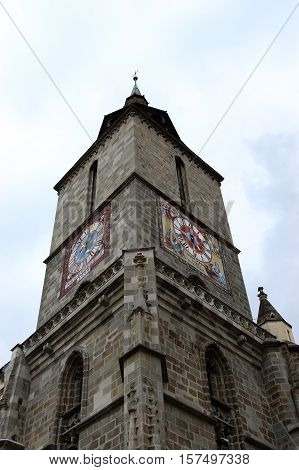 Brasov ROMANIA - October 10 2011: Detail of the bell tower of the Black Church in Brasov Romania.