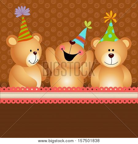 Scalable vectorial image representing a background birthday teddy bears.