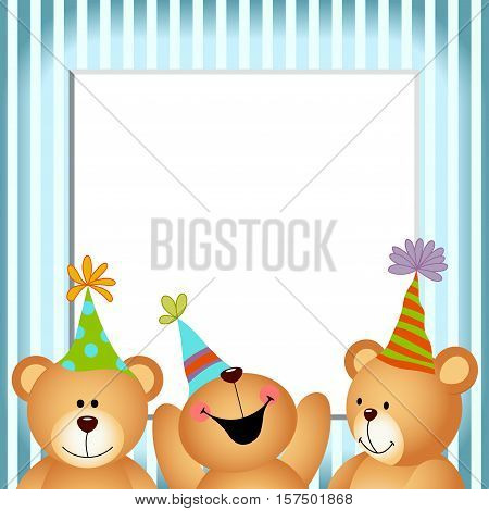 Scalable vectorial image representing a blue frame happy birthday teddy bears, isolated on white.