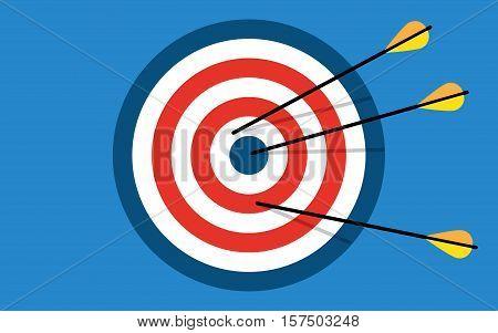 Target with 3 arrows. Dart arrow hitting center target on blue background flat vector illustration