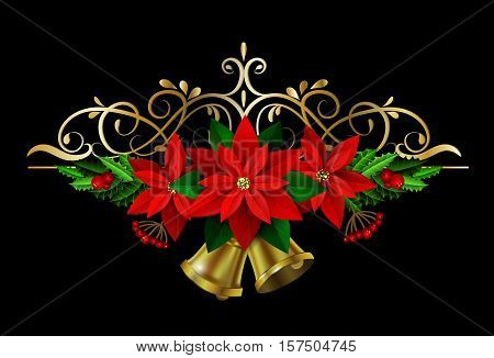 Christmas decoration with evergreen treess holly and poinsettia isolated on black with swirls and bells