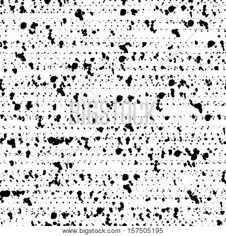 Spotted seamless pattern of grunge background texture with destroyed shapes. Monochrome backdrop. Black and white dirty template. Grunge confetti. Vector illustration.