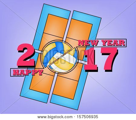 Happy new year 2017 and  volleyball  against the background of a volleyball  field. Vector illustration