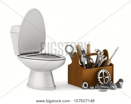 repair toilet on white background. Isolated 3D image