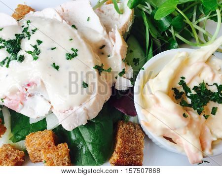 Posh Chicken caesar salad with croutons and coleslaw