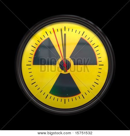 An image of a radioactive clock three seconds to noon