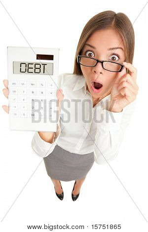 Debt and finance concept. Woman accountant showing calculator spelling DEBT. Funny image of Casual Asian Caucasian business woman isolated on white background.