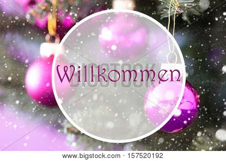 Christmas Tree With Rose Quartz Balls. Close Up Or Macro View. Christmas Card For Seasons Greetings. Snowflakes For Winter Atmosphere. German Text Willkommen Means Welcome