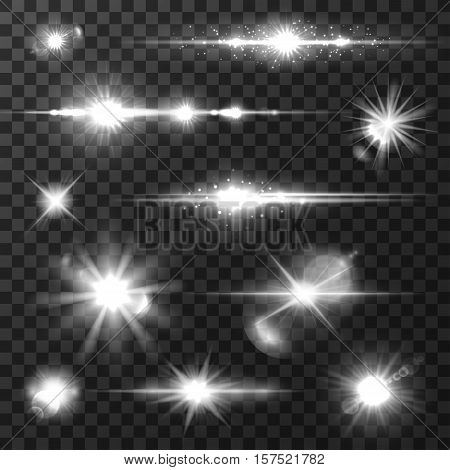 Sun light with lens flare effect, shining star, glowing sparkles with radial light rays. Transparent light effects and flares for art design