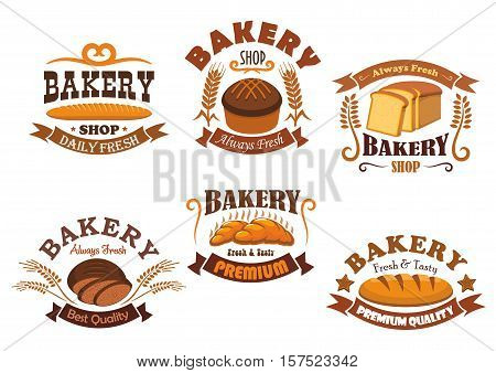 Bakery shop badge set of bread, french baguette, croissant, rye bread, wheat long loaf, toast bread with cereal ears, ribbon banner and vignette flourishes
