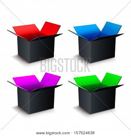 illustration of set different colors open boxes with shadow on white background
