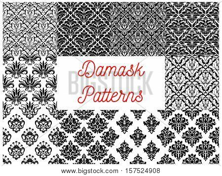Floral damask black and white seamless pattern. Damask flower and leaf arabesque ornament for wallpaper, interior accessory or fabric design